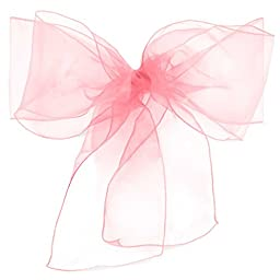 Lann\'s Linens - 100 Organza Chair Cover Bow Sashes - for Wedding or Party Use - Pink