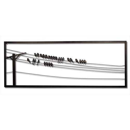 Plastec WD202DB Birds On A Wire Dark Bronze Wall Decor