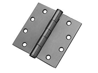 """Don-Jo NRPBB94545 Stainless Steel Non-Removable Pin Full Mortise Ball Bearing Template Hinge, Satin Stainless Steel Finish, 4-1/2"""" Width x 4-1/2"""" Height (Case of 24)"""