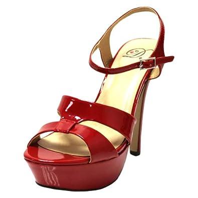 Luxury Divas Red Patent Leather High Heel Platform Peep Toe Pumps Size 6.5