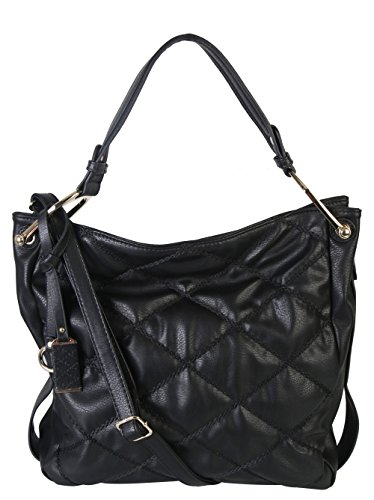 Diophy PU Leather Quilted Hobo Fashion Tote Womens Handbag Purse MC-2407 (Black) (Quilted Zipper Tote compare prices)