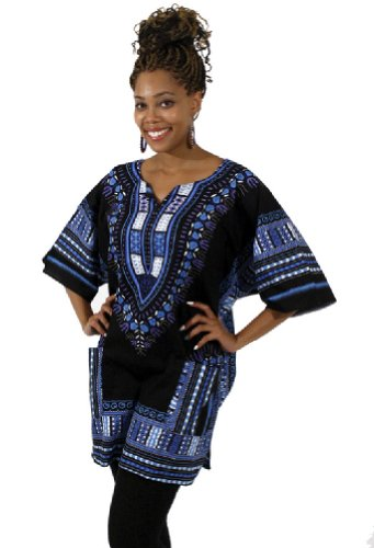 Traditional Thailand Style Dashiki - Available in Several Color Combinations (Black with Blue)