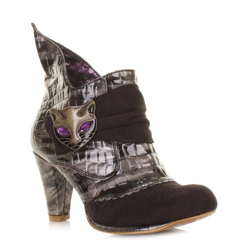 Womens Irregular Choice Black Miaow Cat Face Boots SIZE 3-8