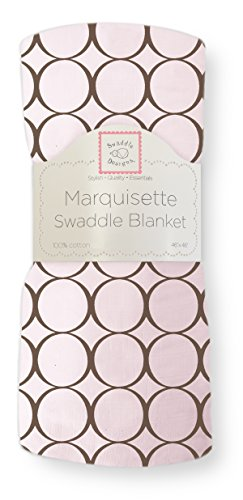 SwaddleDesigns Marquisette Swaddling Blanket, Brown Mod Circles, Pastel Pink (Mod Company compare prices)