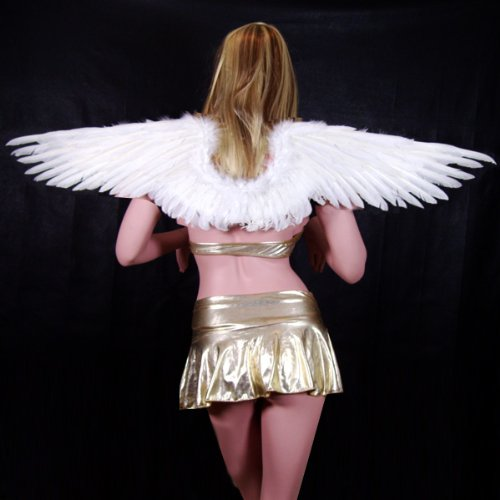 SACAS Large White Feather Angel Fairy Wings with Free Halo for Halloween