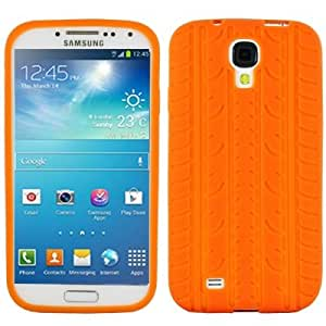 Pure Color Tyre Texture Silicone Case for Samsung Galaxy S IV / i9500 (Orange)