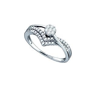 IceCarats Designer Jewelry 1/3 Carat DIAMOND FLOWER BRIDAL RING