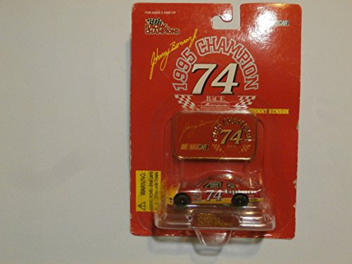 Racing Champions 1995 Nascar Champion Johnny Benson Nacar #74 Lipton and Metal Champion Plate on Display Card - 1