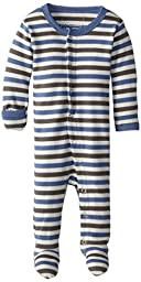 L\'ovedbaby Unisex-Baby Organic Cotton Footed Overall, Slate Stripe, 0/3 Months