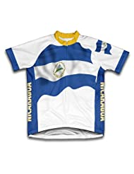 Nicaragua Flag Short Sleeve Cycling Jersey for Women