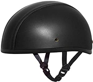 Daytona Leather Covered Beanie Skull Cap DOT Motorcycle Half Helmet [4X-Large]