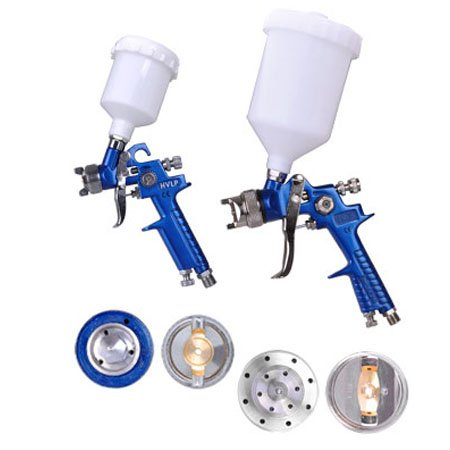 2 Commerical HVLP Spray Gun Auto Paint Gravity Feed Blue Sprayer