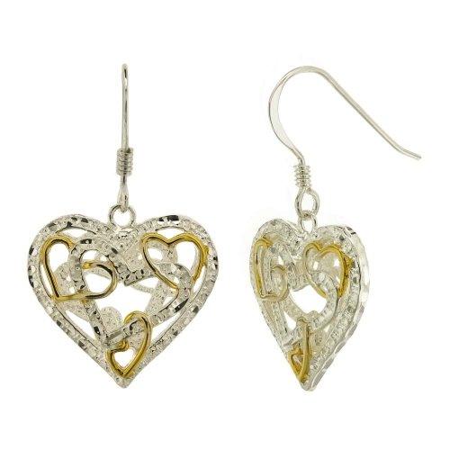 Sterling Silver Hearts in the Heart Dangle Earrings