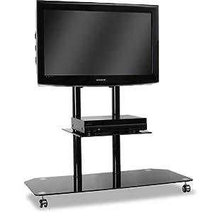 electronic star support tv pied verre aluminium roulettes noir high tech. Black Bedroom Furniture Sets. Home Design Ideas