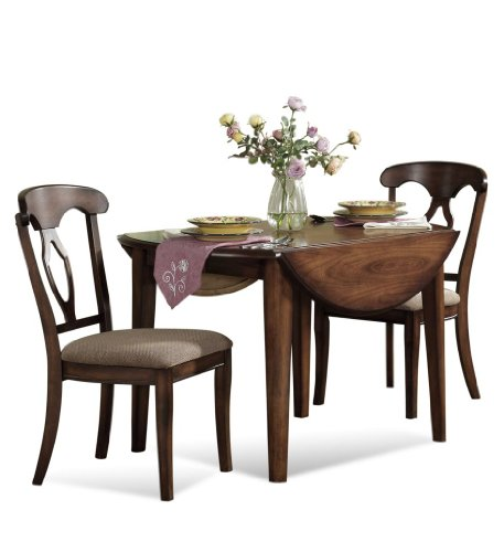 Buy Low Price Bassett Mirror Company 3-pc Francesca Round/Oval Drop Leaf Dining Table Set by Bassett Mirror Company – Dark Fruitwood (D1149-702-SET2) (D1149-702-SET2)