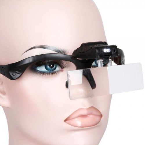 Fast Shipping + Free Tracking Number, Five Lens Magnifier With Two Led Light Loupe Magnifying Headband Glass Glasses Style Hand Free