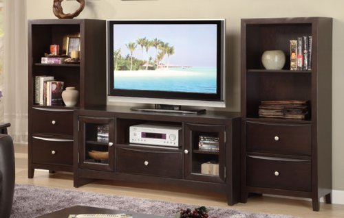 Image of Inland Empire Furniture Janet Cappuccino Solid Wood Flat Screen TV Stand (B008R9B9JC)