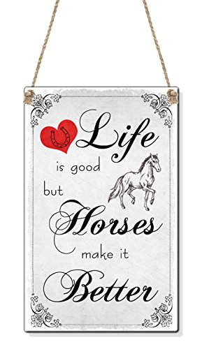 life-is-good-horses-make-it-better-vintage-horse-lover-gift-card-size-cute-mini-sign-plaque