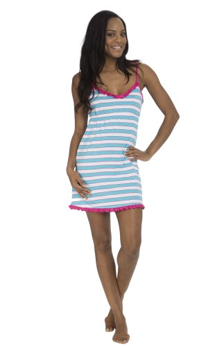 (5081Dh) Dollhouse Striped Cotton Chemise Night Gown In Blue Stripe Size: S