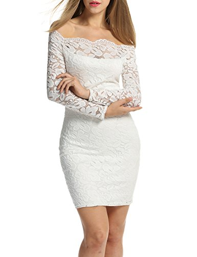 ACEVOG Women's Off Shoulder Lace Dress Long Sleeve Bodycon Casual Dresses (XX-Large, White)