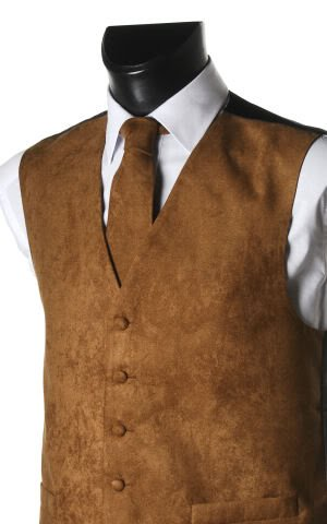 Men's Light Brown Suede Effect Front Panel Waistcoat