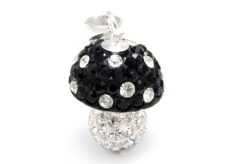 Authentic Black Diamond Color and White Mushroom Crystals , Includes Sterling Silver Chain 18 Inches Rolo. Now At Our Lowest Price Ever but Only for a Limited Time!