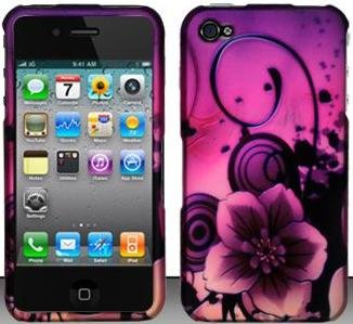 Purple Paradise Flower Hard Snap On Case Cover Faceplate Protector for Apple iPhone 4 AT&T / Verizon + Free Texi Gift Box
