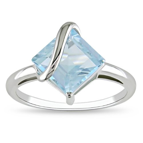 Sterling Silver 3 1/6 CT TGW Square Sky Blue Topaz Fashion Ring