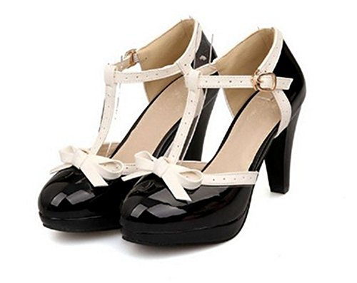 Lucksender Fashion T Strap Bows Womens Platform High Heel Pumps Shoes 2