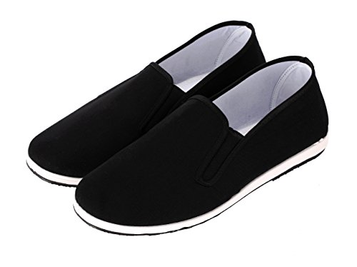 Aircee (TM) Men Chinese Traditional Old Beijing Shoes Bruce Lee Kung Fu Tai Chi Rubber Sole Shoes Black
