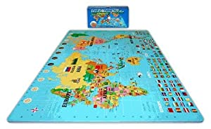 Play & Learn Soft & Safe 6'x 6' x 4' World Map Foam Puzzle Floor Set