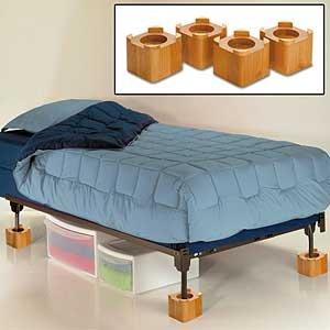 """Wood Bed Lifters (Honey Oak) (4.5""""D x 4.5""""W x 4""""H)"""