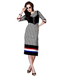 Shonaya Black & White Color Printed Cotton Stitch Kurti