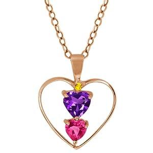 0.83 Ct Heart Shape Purple Amethyst Pink Mystic Topaz 18K Rose Gold Pendant