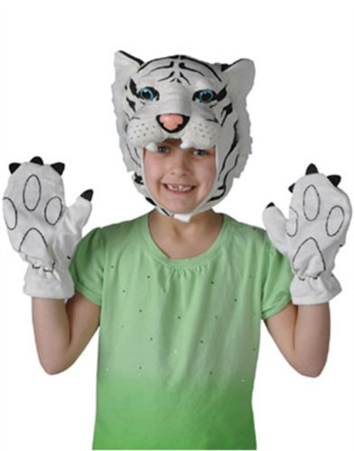 Child Costume Accessory White Tiger Cap and Paws Set