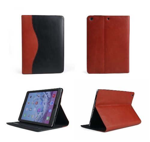 Bear Motion Case ® for Apple iPad Air - Luxury 100% Genuine Top Layer Buffalo Hide Vintage Leather Case for Apple iPad Air Support Smart Cover Function (iPad Air, Curve Black/Red)
