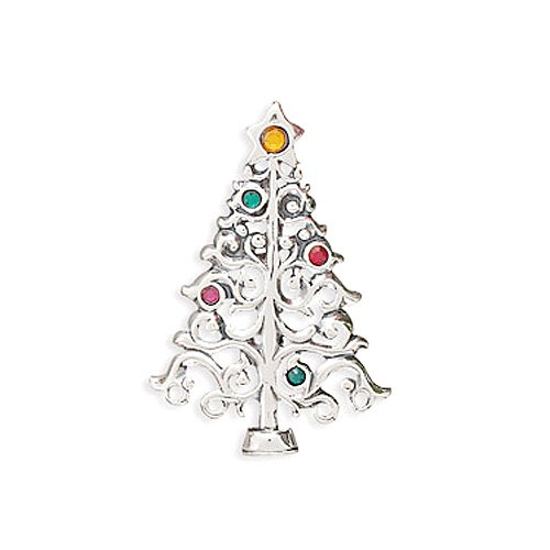 Sterling Silver Christmas Tree with Colorful Crystals Pin/Pendant