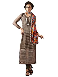 Inddus Brown Colored Georgette Embroidered Salwar Kameez