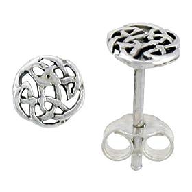 Sterling Silver Celtic Knot Stud Earrings, 1/4 in. (7mm)