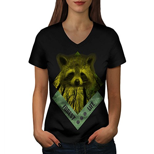 raccoon-forest-life-yellow-wood-women-new-black-xl-v-neck-t-shirt-wellcoda