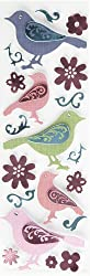 Martha Stewart Crafts Modern Damask Embossed Bird Stickers