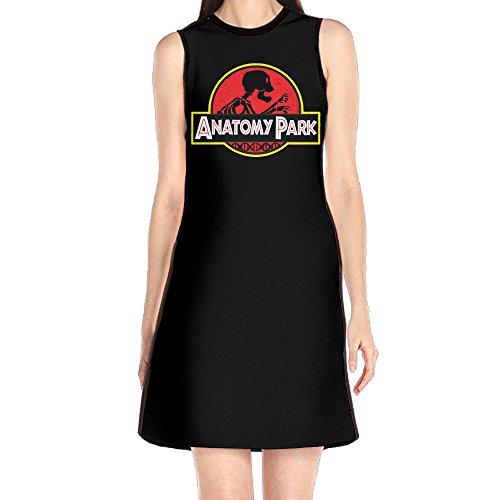 [GHHK Women's Rick And Morty Anatomy Park Sleeveless Classic T-shirt Dress White M] (Community Costumes Dance Type)