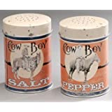 Cowboy Tin Salt And Pepper Shakers