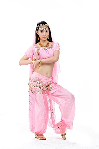 2015 New Adult 5pcs Pink Belly Dance Dress Point Lanterns Performance Costume
