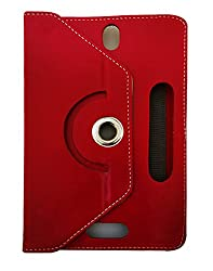 Fastway Rotating 360 Deg Leather Flip Stand Cover For iball Slide 6318i -Red