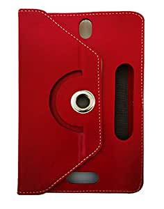 Fastway Rotating 360 Deg Leather Flip Stand Cover For Zync Z18 2G Calling Tablet-Red