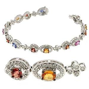 14k White Color Sapphire Sapphire and Diamond Bracelet - JewelryWeb