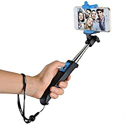 Mpow iSnap Y One-piece Portable Monopod Extendable Selfie Stick with built-in Bluetooth Remote Shutter for Travels, Family Entertainment, Friends and Group photos-Blue