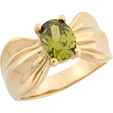 buy 14K Yellow Gold Oval Cut Simulated Peridot Solitaire Wide Band Ladies Ring