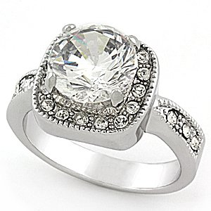 2.5 Carats CZ Silver Tone Engagement Anniversary Ring Size (9)